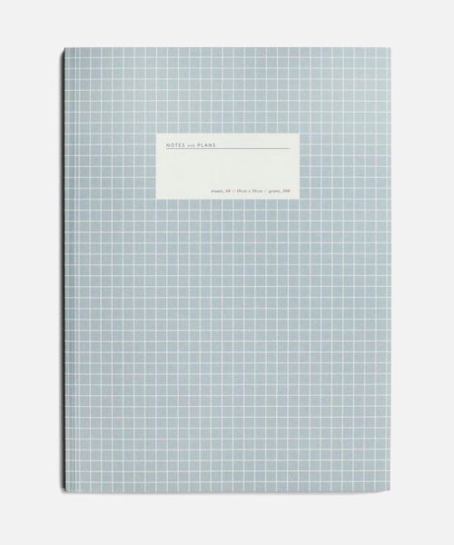 large grid notebook light blue