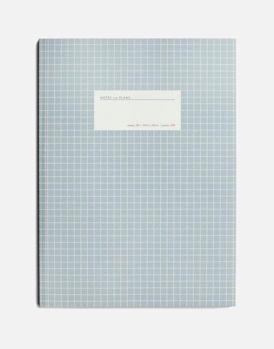 large grid notebook light blue