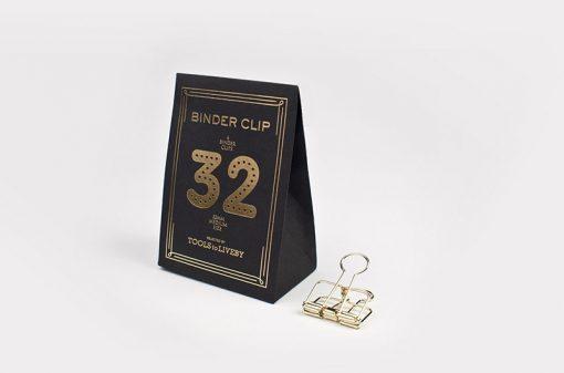 binder clip 32 mm gold