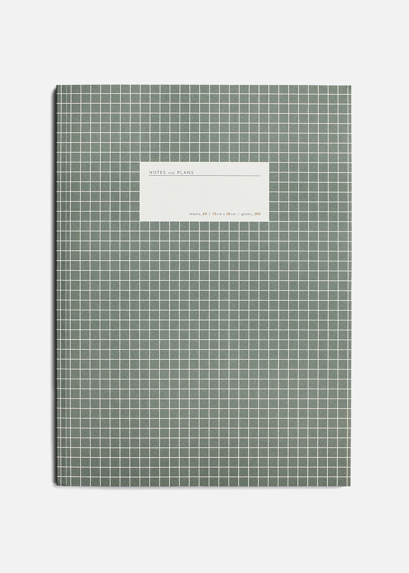 large grid notebook green