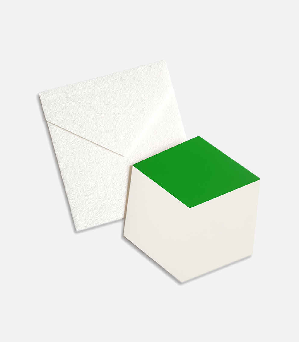 greeting card green cube