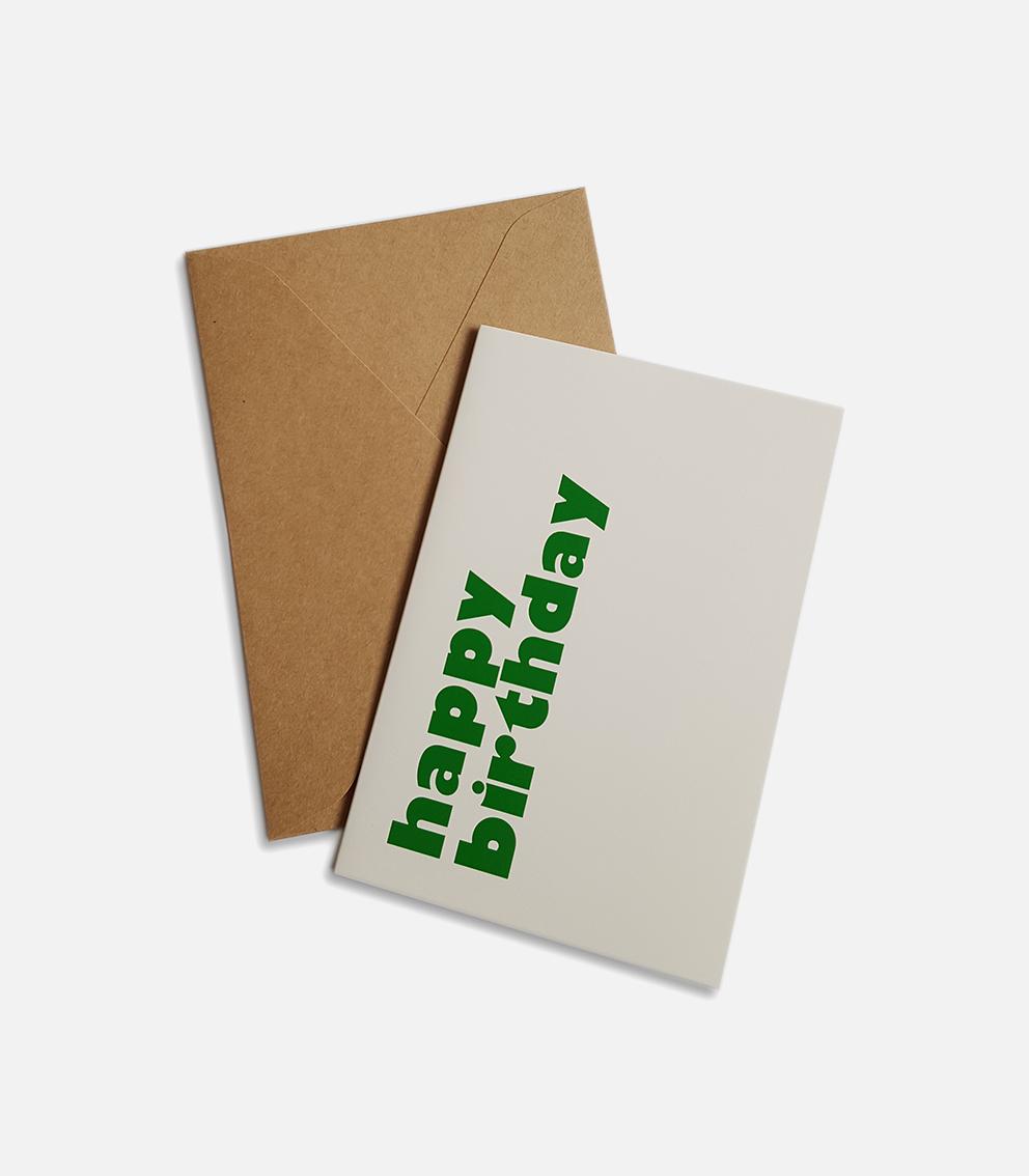 greeting card happy birthday green
