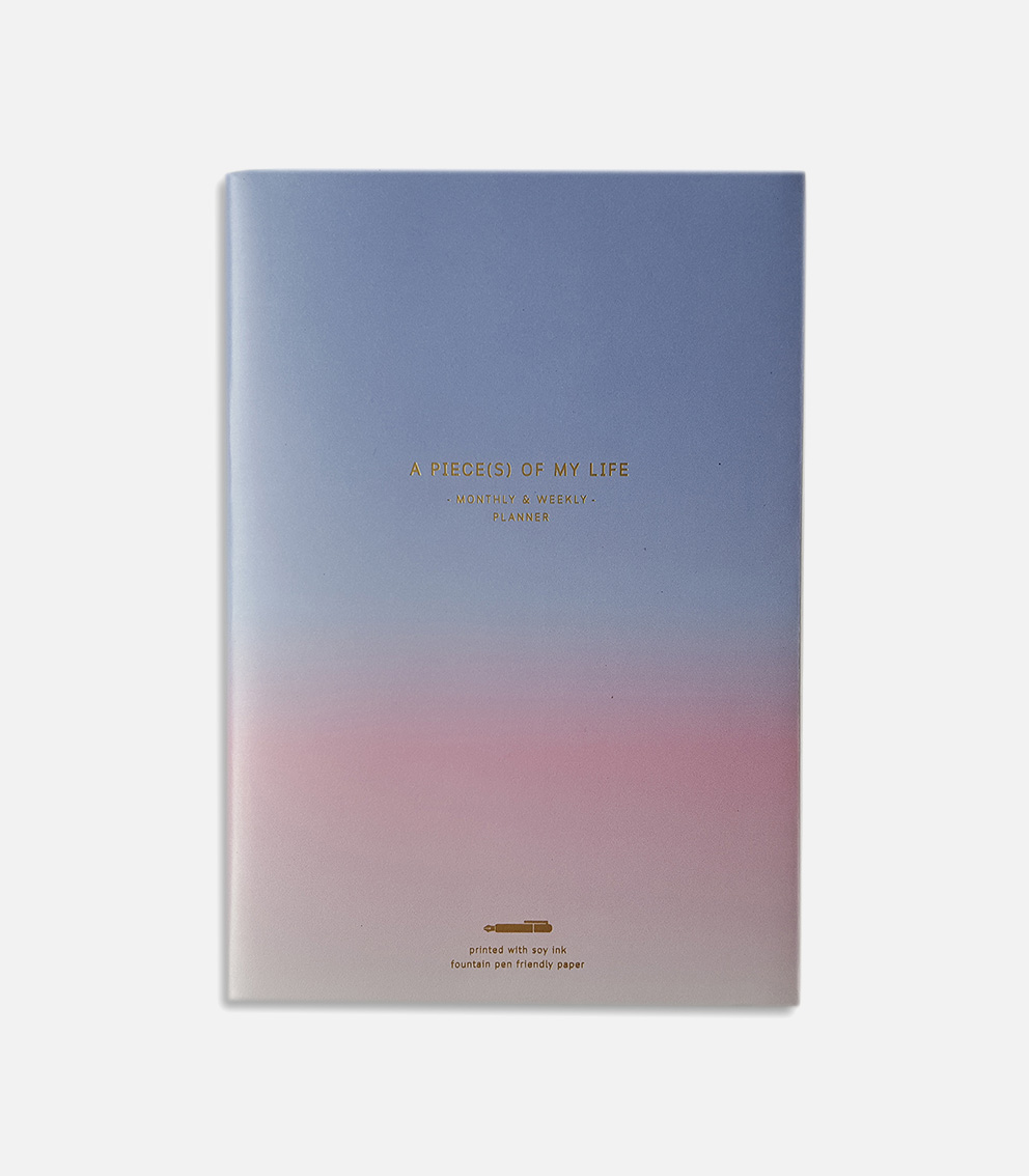 monthly and weekly planner blue-pink