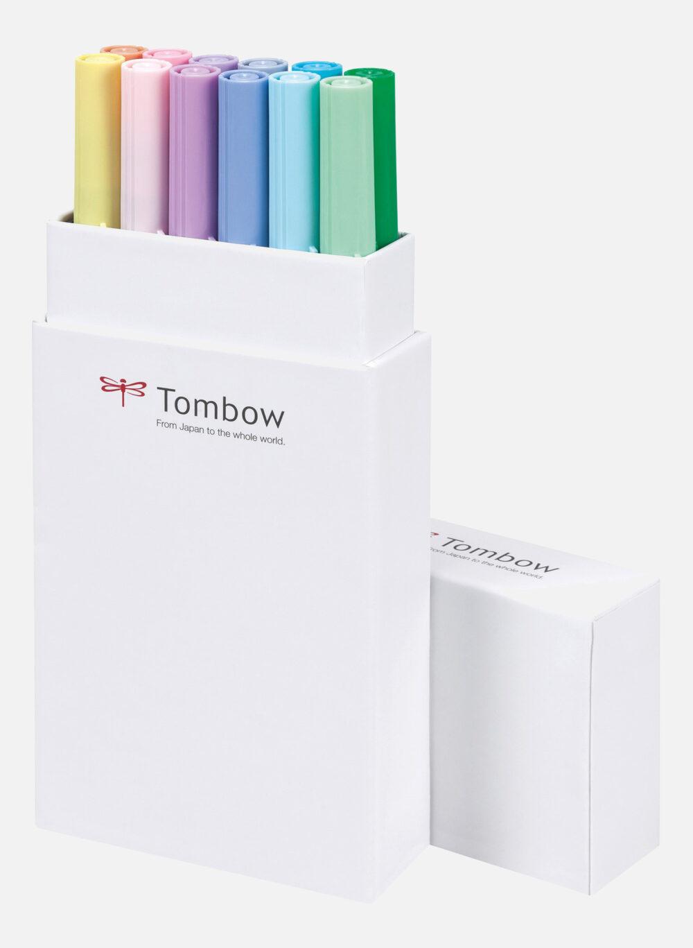 dual brush pen pastel set 12