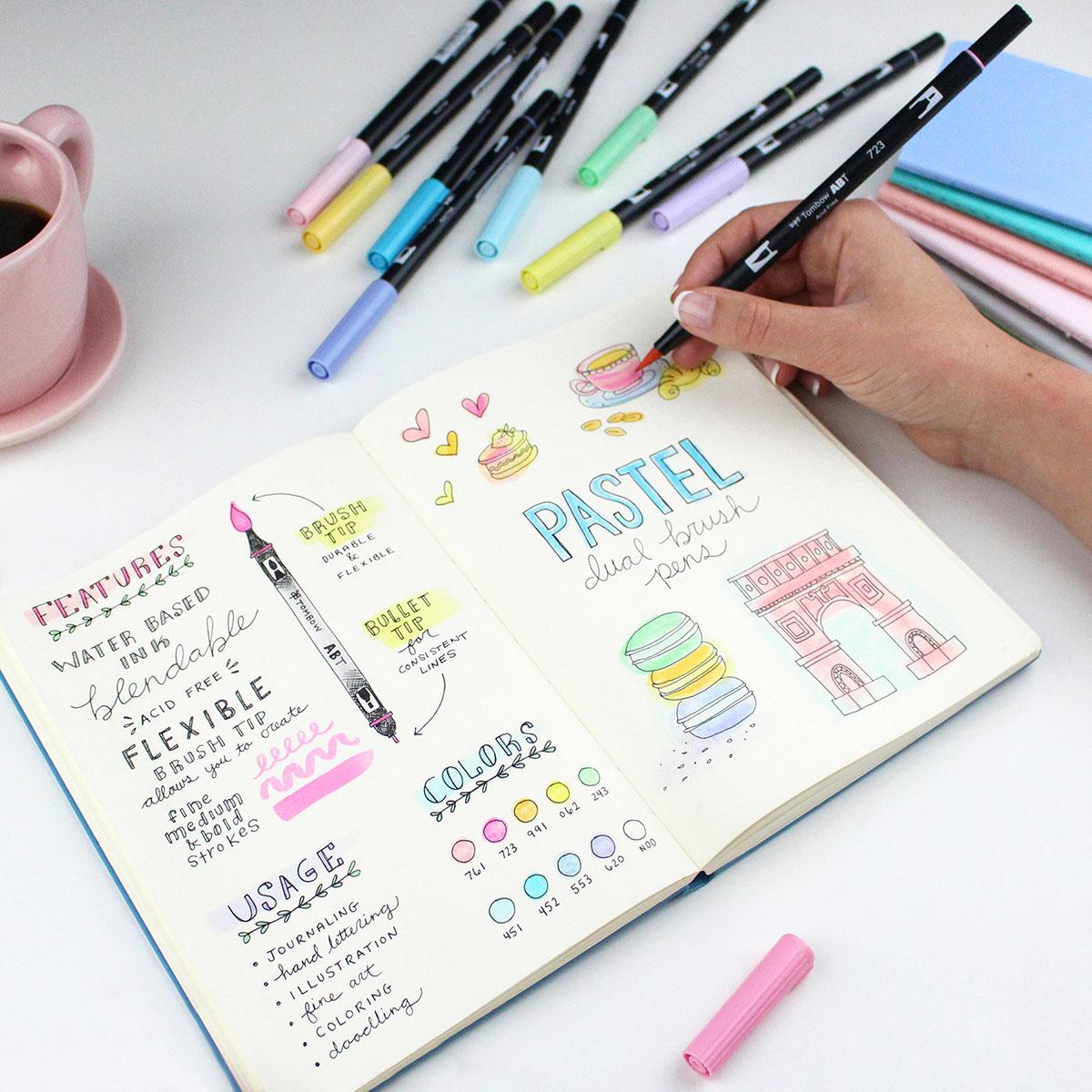 dual brush pastel