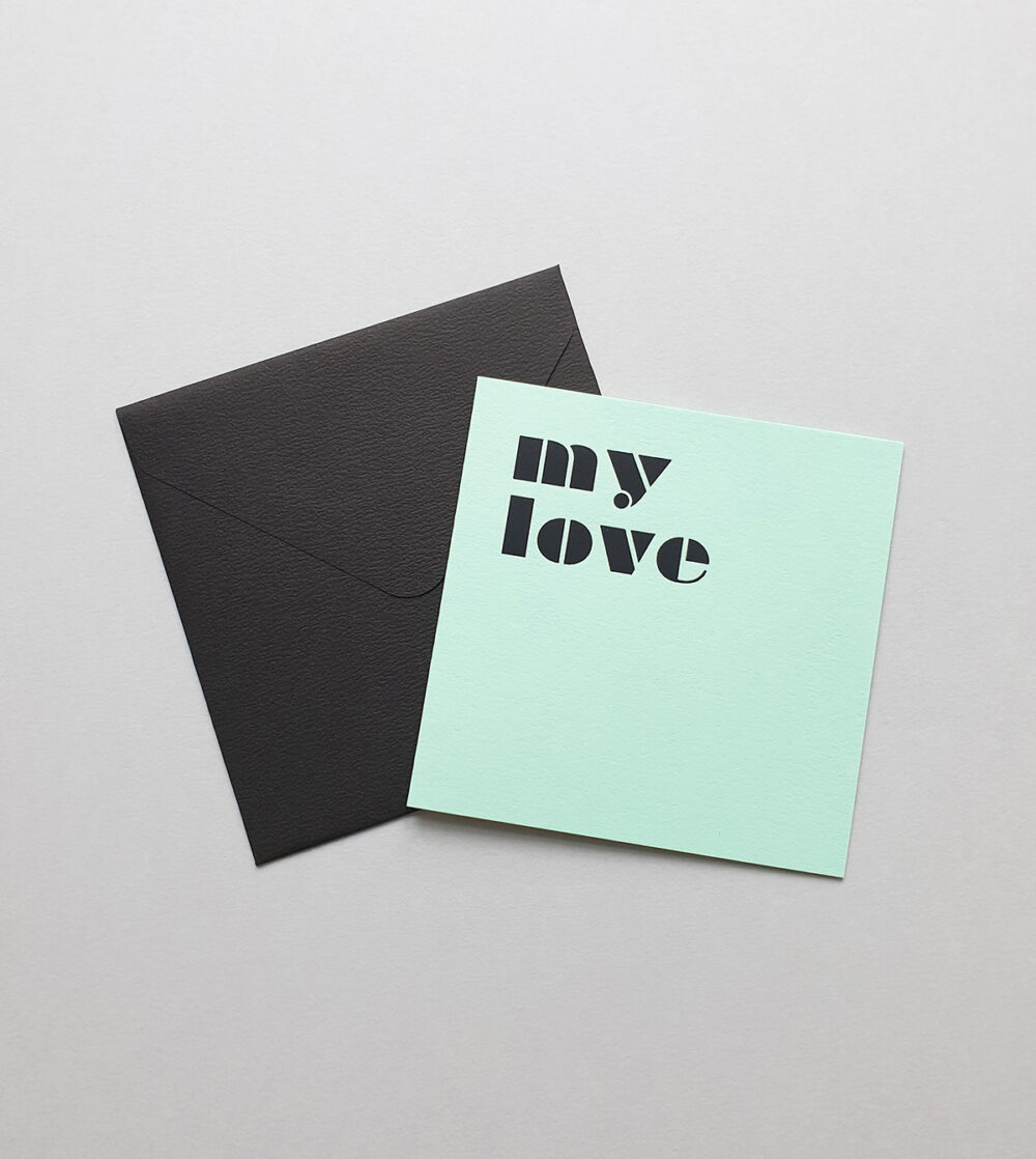 greeting card my love mint
